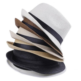 $enCountryForm.capitalKeyWord UK - Fashion Hats for Women Fedora Trilby Gangster Cap Summer Beach Sun Straw Panama Hat with Ribbow Band Sunhat 6 Colors