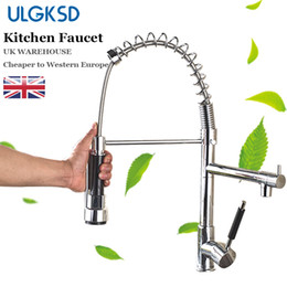 led kitchen faucet sink water NZ - wholesale Kitchen Faucet Spring Lever Chrome Sprayer Brass Single Handle Hot and Cold Water Mixer Tap Para Kitchen Sink