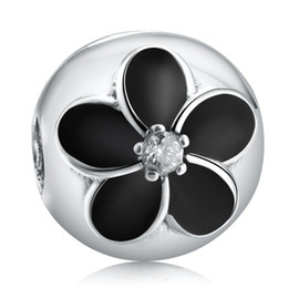 Lock Enamel Charms NZ - Black Flowers Clip Charms Beads 925 Sterling Silver Enamel Flower Stopper Lock Bead For Jewelry Making DIY Brand Logo Bracelet Accessories