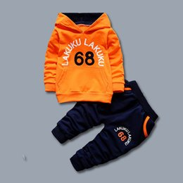 girls hooded tracksuits UK - Toddler Tracksuit Autumn Baby Clothing Sets Children Boys Girls Fashion Brand Clothes Kids Hooded T-shirt And Pants 2 Pcs Suits