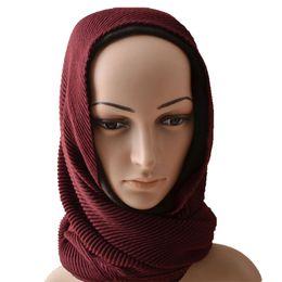 Muslim Shawl Cotton NZ - Women Ripple wrinkle scarf,cotton viscose plain scarf,muslim headband solid color,Muslim hijab,wraps,wrinkle shawls 24 colors S18101904