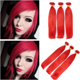 $enCountryForm.capitalKeyWord Australia - Pure Red Color Virgin Peruvian Human Hair Weaves Extensions Silky Straight Peruvian Red Human Hair 3 Bundles Deals Best Double Wefts