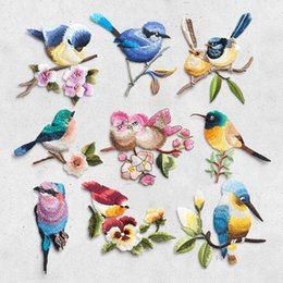ironing sticker clothes Australia - 20Pcs Bird on the breach Embroidery Iron on Patches for Clothing Applique DIY Hat Coat Dress Pants Accessories Cloth Sticker