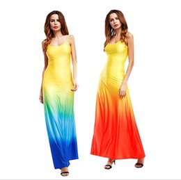 Discount casual ankle length dresses sleeves - Women summer dress gradient Color Bohemian Print Long Dress Sexy Condole belt Slim Colorful Maxi Dress KKA4058