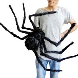 furry toys 2019 - DHL free shipping Halloween prop spider stuffed toys haunted house decor Horrible Big Black Furry Fake Spider 30cm 50cm