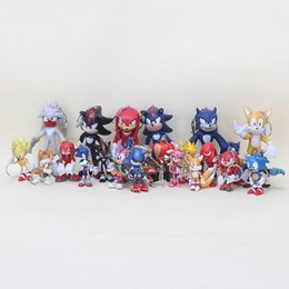 Sonic Hedgehog Dolls UK - 6pcs set SEGA Sonic the Hedgehog Sonic Boom Amy Tails Knuckles Dr. Eggman Doll PVC Action Figure keychain Play Toy Cake Topper kids Gift