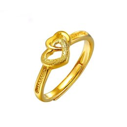 24k Gold Plated Rings Australia - MGFam (252R) 2 Hearts Rings ( adjusted ) Jewelry For Women Classic 24k Pure Gold Plated Wedding Jewelry