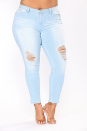 джинсы дырочки оптовых-Hole Ripped Jeans Women Pants Cool Denim Vintage Pencil Jeans For Girl Mid Waist Casual Pants Female Slim Jeans Plus Size XL XL