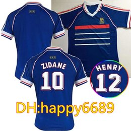 37b38ca66 Thailand Quality 1998 French RETRO VINTAGE soccer jerseys ZIDANE HENRY  MAILLOT DE FOOT uniforms Football Jerseys shirt