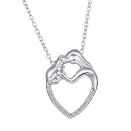 $enCountryForm.capitalKeyWord NZ - 2018 Fashion Mother's Day New Gifts Silver Mosaic Zircon Necklace Cartoon Mom And Kid Heart Shape Pendant Necklace