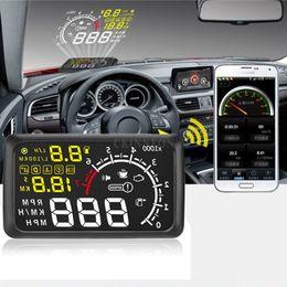 Car Heads Up Display Australia - DHL 200PCS Universal Car HUD Head UP 5.5 LCD Display OBDII Car Styling Kit fuel Overspeed KM H Pro