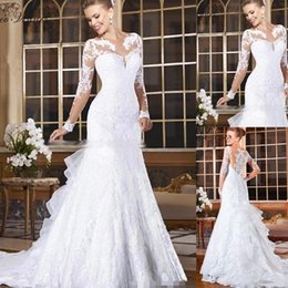 Lace iLLusion back mermaid wedding dress online shopping - 2018 Sexy Illusion Back Mermaid Wedding Dresses Long Sleeves Ruffles Sweep Train Castle Wedding Bridal Gown BA9779