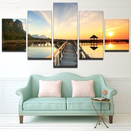 art canvas prints Australia - No Frame Modern HD Print Modular Cheap Pictures 5 Panel Sunset Wall Art For Living Room Home Decoration Artwork Bridge Canvas Prints