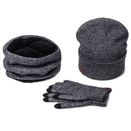 Black Scarves Gloves Sets NZ - Winter Warm Hat Beanie thick infinity Scarf Smart Touch screen Texting Gloves Set