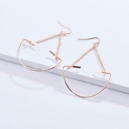 Copper Earrings Australia - Fashion Gold Silver Plating Unique Design Semi Circle Copper Wire Drop Earrings for Women