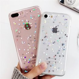 Heart glitter online shopping - Fashion Bling Glitter Case For Iphone X Luxury Love Heart Shining Powder Phone Cases For Iphone Plus