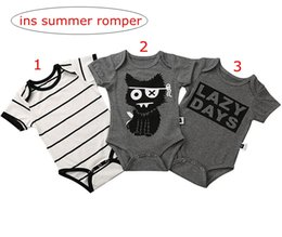 "fox jumpsuit Australia - ins summer kids fox print gray rompers ""lazy days"" letter print baby cotton romper infant black white striped Jumpsuits Jumpsuits 0-2years"