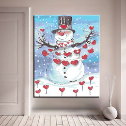 snowman kits Canada - DIY Oil Painting By Numbers Kits Coloring Handpainted Snowman With Red Love Hearts Pictures Unique Home Decor Wall Art Framework