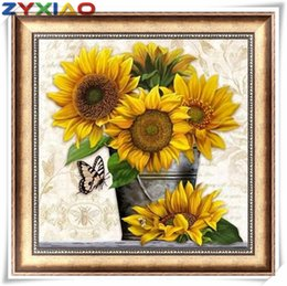 painting basket NZ - 5D Diamond embroidery sunflower basket diy diamond painting cross stitch kit full round&square diamond mosaic home decor gift toy AA0619