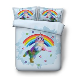 China 4 6pcs quilt covers sets girls lovely cartoon cat print bedding Single Full Queen Super king size unicorn kitten rainbow sheets cheap modern king size beds suppliers