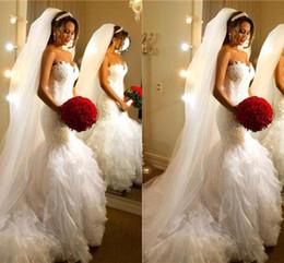 $enCountryForm.capitalKeyWord NZ - robe de mariée 2019 Wedding Dresses from China Lace Applique Mermaid Bridal Gowns Chapel Train Cascading Ruffles Skirt vestido de novia