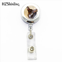 Wholesale Dog Lover Gifts NZ - NBH-0012 New Chihuahua ID Card Holder Little Chihuahua Retractable Metal Card Badge Holder Dog Lovers Gifts Photo Badge Holder