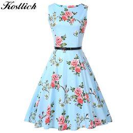 $enCountryForm.capitalKeyWord NZ - X907 Kostlich Floral Print Summer Dress Women Sleeveless 50s 60s Tunic Vintage Dress With Belt 2018 Cotton Party Dresses Sundress