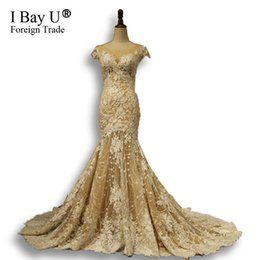 Sexy Mermaid Style Wedding Dresses UK - Dubai Arabic Luxury Sparkly Mermaid Wedding Dresses 2018 Sexy Bling Lace Applique Illusion Sweep Champange Bridal Gowns Lebanon Style