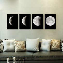 $enCountryForm.capitalKeyWord NZ - 4Pcs Moon Posters Minimalist Modern Canvas Wall Art Oil Painting Wall Pictures Living Room Home Decoration Dropshipping Aug22