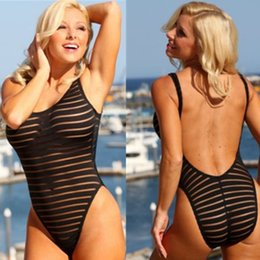 Woman Transparent Swimsuit NZ - SexeMara 2017 Summer Sexy Swimwear Women Black Stripe Mesh Sheer Monokini One Piece Transparent Bodysuit Beachwear Swimsuit