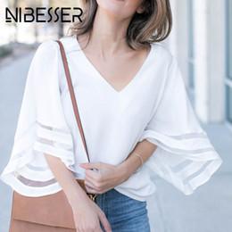 $enCountryForm.capitalKeyWord UK - NIBESSER Summer Flare Sleeve White Blouse Women V Neck Woman Shirt Elegant Patchwork Mesh Top Formal Clothing for Office lady