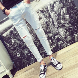 $enCountryForm.capitalKeyWord Canada - Top quality 2018 Fashion Casual knee hole white jeans men Slim hip hop Denim skinny Ankle length pants homme hombre