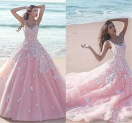 quinceanera dresses organza flower 2019 - 2018 New Pink Quinceanera Ball Gown Dresses Scoop Neck Tulle With Flowers White Lace Appliques Long Sweet 16 Sweep Train