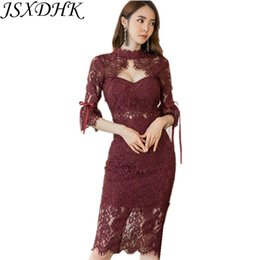 korean lace dress xl 2019 - JSXDHK 2018 New Autumn Lace Pencil Party Dress Sexy Korean Women Wine Hollow Out Flare Sleeve Bodycon Slim Sheath Fashio