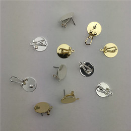 Copper Pin Earrings Canada - 50pcs 15MM Gold Silver Color Ear Clip With Pin Copper Metal Ear Clip DIY Earring Finding