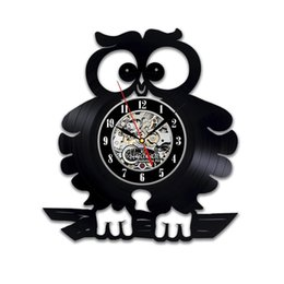 Wholesale diy gift for clock change Cute Baby Owl Art Home Decor Vinyl Record Clock Room Design Gift hanging For new design