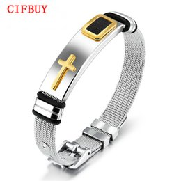 punk male chains UK - CIFBUY Punk Cross Bracelet For Men Length 16.5-21 CM Mesh Strap Band Stainless Steel Black  Gold Color Male Wrap Bracelets GH878