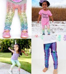 Discount bohemian leggings - INS Baby Girls Unicorn Mermaid Scale Gradient Leggings tights xmas Kids Boys Fashion Glossy Scale Print Tights Children
