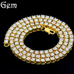 Ice Out Chains Canada - Wholesale Newest Hip Hop Gold Chain 1 Row Simulated Diamond Necklace Chain 20inch-30inch Men And Women Gold Tone Iced Out Punk Necklace