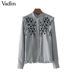 2af0c6d0e30 Vadim women sweet ruffles floral embroidery shirts long sleeve O neck blouse  vintage ladies cute fashion tops blusas LT2369