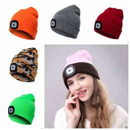 17Colors LED Light Hat Battery Type Winter Beanies Fishing Camping Cap  Knitted Hat Camping Outdoor Crochet Party Hats 25ab77963fb
