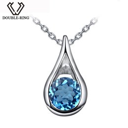 Chinese  DOUBLE-R Water Drop Natura Blue Topaz 925 Sterling silver Pendants engagement wedding Pendants Fine Jewelry For Women Gifts manufacturers