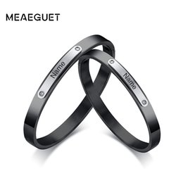 Name Plate Jewelry Sets Australia - Meaeguet Free Engrave Laser Couple Lover Bangle Name Bracelet Jewelry For Women Men Stainless Steel Personalized ID Bracelete