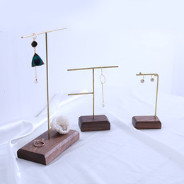 $enCountryForm.capitalKeyWord NZ - Wholesale black walnut solid rose gold necklace earring display metal holder with wooden stand fashion window display stand JS-04-04