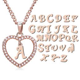 91fd6fd88 Luxo 26 Carta pingente Inicial Colares Bling Cristal strass Amor Forma Do  Coração Alfabeto Charme Link cadeia Para As Mulheres Da Moda Jóias