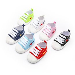 Wholesale Canvas High Shoes Australia - New Baby Boys Girls Canvas Shoes High Quality Two Strap Newborn Baby Toddler Fashion First Walkers For 0-18 Month