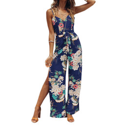 9b0790afc7f4 Female Floral Printed Jumpsuits Women Summer Beach Boho Spaghetti Strap  Overalls Split Wide Leg Pants Rompers Plus Size GV383