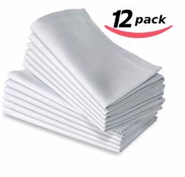 "White Cotton Napkins UK - 20""x20"" White Cotton Cloth Linen Dinner Napkins Premium Hotel Napkins for Wedding Party Home"