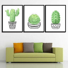 Art Canvas Prints Australia - Minimalism Art Prints Green Cactus Simple Nordic Poster Canvas Painting HD Wall Pictures Living Room Kids Room Home Decor