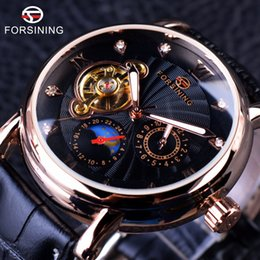 Glass Top Display Cases Canada - Wholesale-Forsining Fashion Luxury Series Luminous Design Rose Golden Case Men Watch Top Brand Tourbillion Diamond Display Automatic Watch